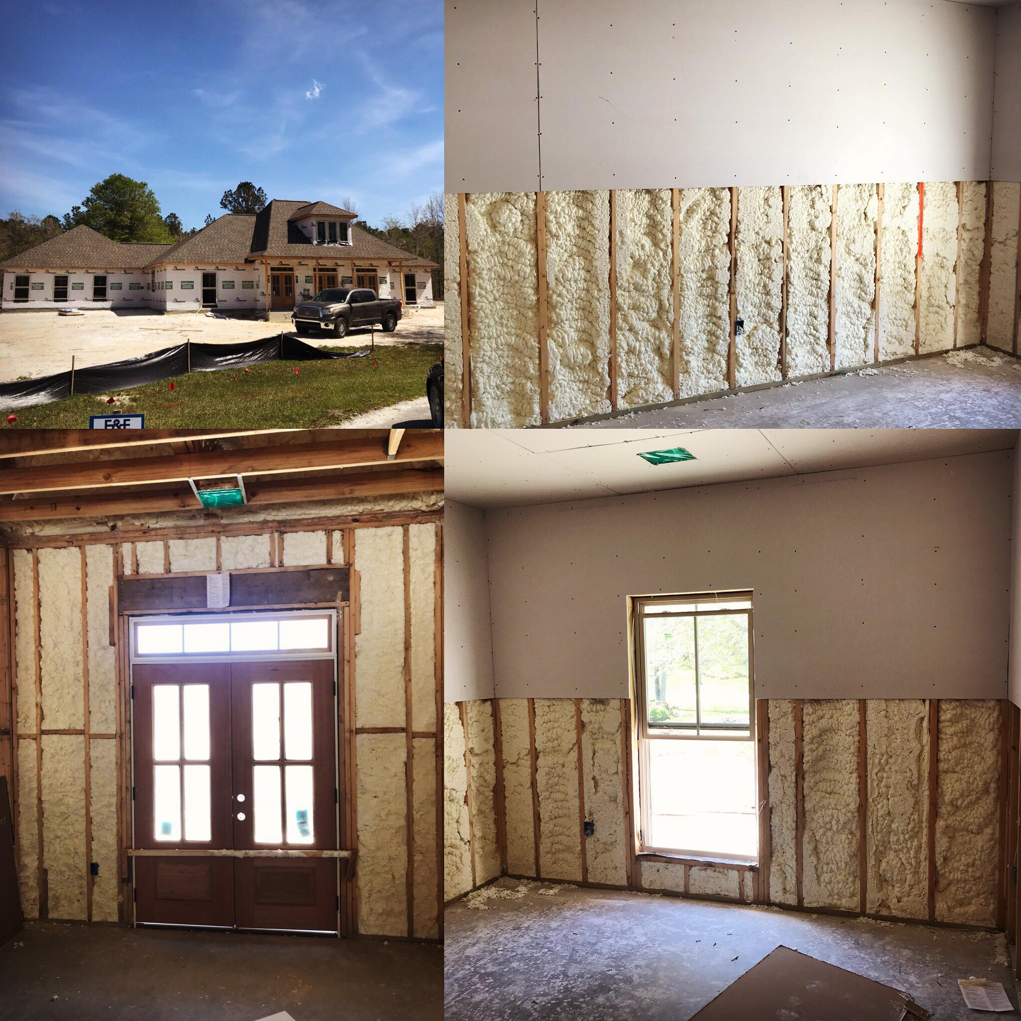 New construction with open and closed cell spray foam for New home insulation